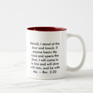 jesus_at_door, Behold, I stand at the door and ... Two-Tone Coffee Mug