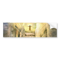 Jesus at Empty Tomb Easter Resurrection Bumper Sticker