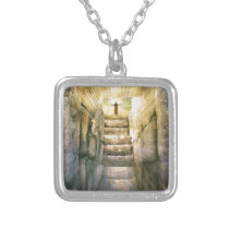 Jesus at Empty Tomb Easter Resurrection Silver Plated Necklace