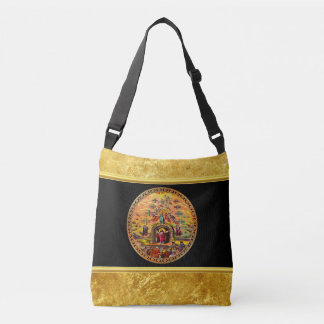 Jesus at Heaven's Gate gold foil and black texture Crossbody Bag