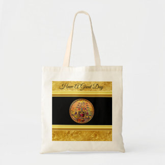 Jesus at Heaven's Gate gold foil and black texture Tote Bag