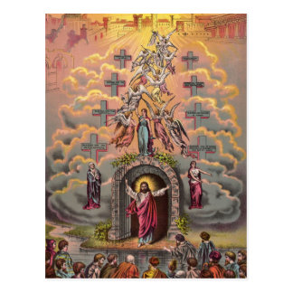 Jesus at Heaven's Gate, Vintage Christian Postcard