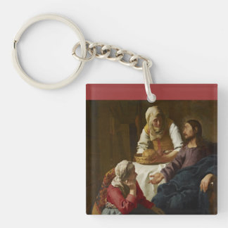 Jesus at Mary and Martha's Home Double-Sided Square Acrylic Keychain