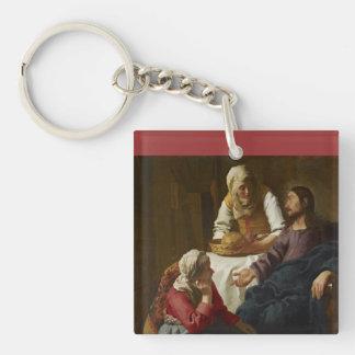 Jesus at Mary and Martha's Home Keychain