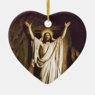 Jesus at Open Tomb Double-Sided Heart Ceramic Christmas Ornament
