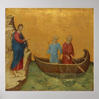 Jesus at Sea of Galilee Vintage Art Print Poster