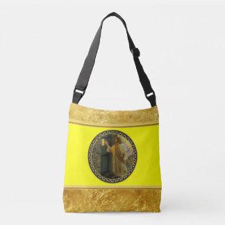 Jesus At Your Door gold foil with yellow texture Crossbody Bag
