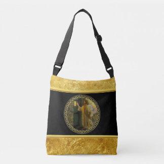 Jesus At Your Door in gold foil and black Crossbody Bag