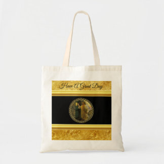 Jesus At Your Door in gold foil and black Tote Bag