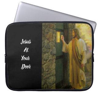 Jesus At Your Door Vintage Computer Sleeve