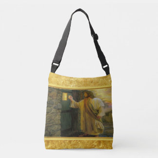 Jesus At Your Door with a gold foil design Crossbody Bag