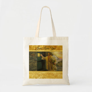 Jesus At Your Door with a gold foil design Tote Bag