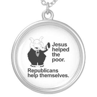 Jesús ayudó a los pobres Los republicanos se ayud Collares Personalizados