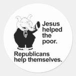 Jesús ayudó a los pobres. Los republicanos se ayud Pegatina Redonda