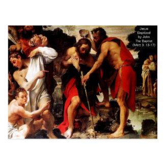 Jesus Baptized by John The Baptist Postcard
