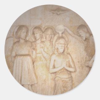 Jesús bautizó por Juan - Griego Murial Pegatina Redonda