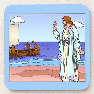 Jesus beckoning to apostles cork back coaster set