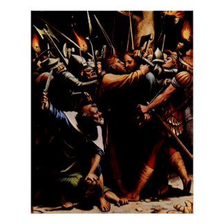 Jesus betrayed by Judas Iscariot Poster