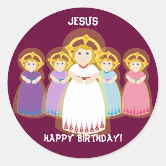 Jesus Birthday Sticker-Customize Classic Round Sticker