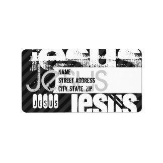 Jesus; Black & Dark Gray Stripes Address Label