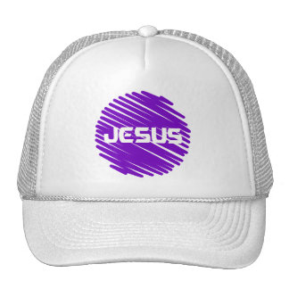 Jesus Blanc rond violet Hat