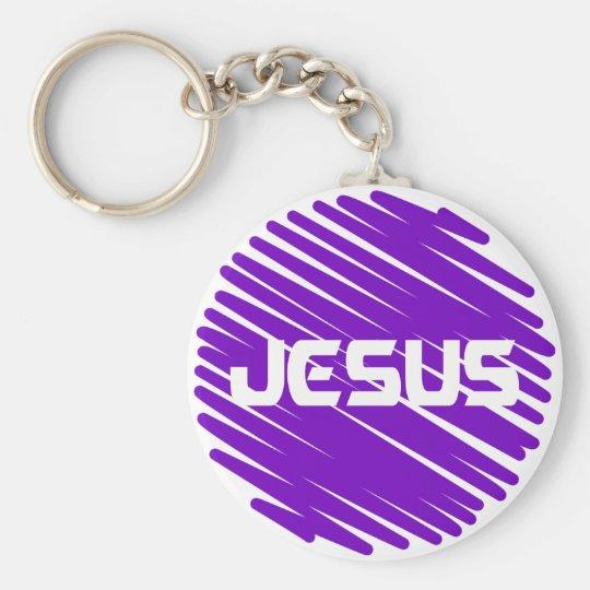 Jesus Blanc rond violet Keychain