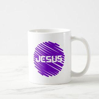 Jesus Blanc rond violet Coffee Mugs