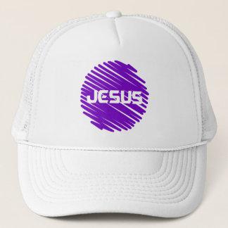 Jesus Blanc rond violet Trucker Hat
