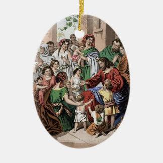 Jesus blessing little children painting ornament