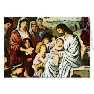 Jesus blessing the children card