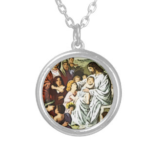 Jesus blessing the children silver plated necklace