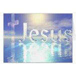 Jesus Blue Sky with Glass Cross Card