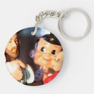 Jesus, Bob and the Teletubbie Double-Sided Round Acrylic Keychain