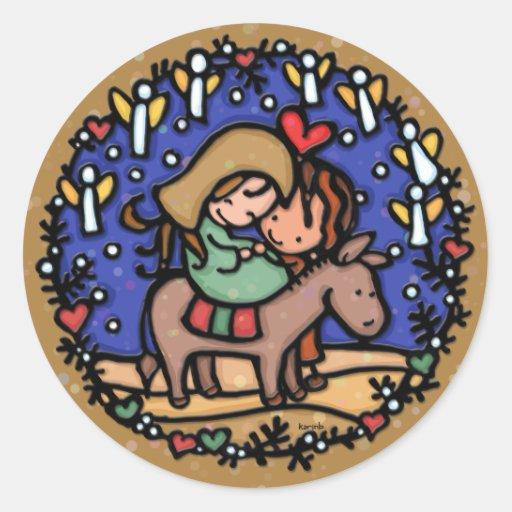 Jesus born Christmas day Angels rejoice CAMEL Classic Round Sticker