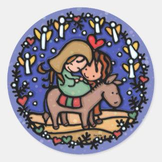 Jesus born Christmas day Angels rejoiced BLUE Classic Round Sticker