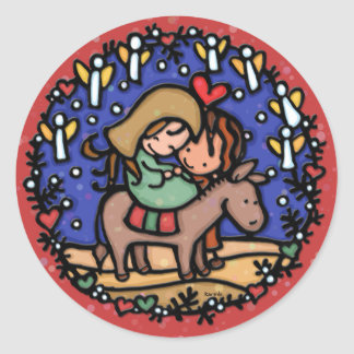 Jesus born Christmas day Angels rejoiced RED Classic Round Sticker