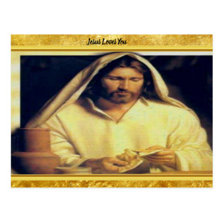 Jesus Breaking Bread Gold And Black texture Postcard