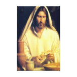 Jesus Breaking Bread Wrapped Canvas Canvas Print