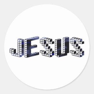 Jesus Brique Bleu foncé Classic Round Sticker