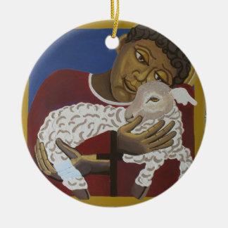 Jesús - buen pastor adorno navideño redondo de cerámica