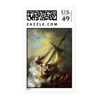 Jesus calming the Storm in The Sea of Galilee Postage Stamp