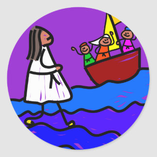 Jesús camina en el agua pegatinas redondas
