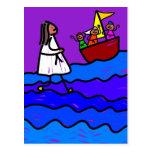 Jesús camina en el agua postales