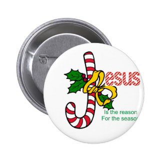 Jesus Candy Cane Pinback Button