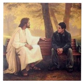 Jesus Cares Tile