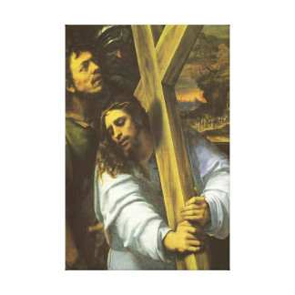 Jesus carries cross Wrapped Canvas