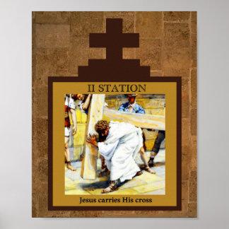 Jesus Carries His Cross Station II Poster