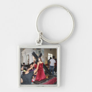 Jesus carries the cross Silver-Colored square keychain