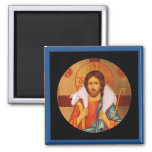 Jesus Carrying a Lost Lamb icon 2 Inch Square Magnet