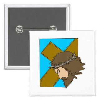 Jesus carrying cross 2 2 inch square button